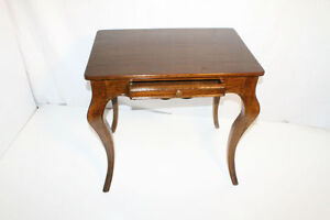 French Provincial Oak Side Table with Frieze Drawer, Circa 1920's