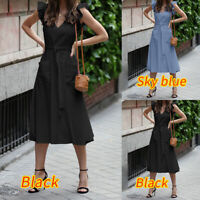 Women Summer Holiday Ruffle Long Sleeveless Beach Swing Belt Sun Dress Plus Size