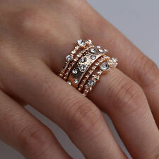 Classic Boho 5pcs Crystal Rose Gold Stackable Band Charms Ring Sparkly Jewelry