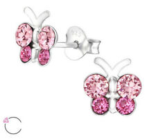 925 Sterling Silver Butterfly Made With Swarovski Crystal Stud Earrings Pink