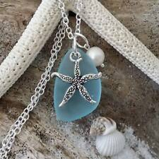 Handmade in Hawaii, Turquoise Bay blue sea glass necklace, Starfish charm, Sterl