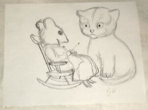 Garth Williams Pencil drawing   Kitten Thought He Was a Mouse   circa 1950