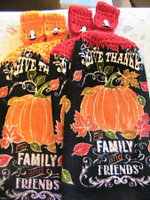 LOT OF 2 GIVE THANKS~Pilgrim buttons CROCHET TOP KITCHEN~BATH HAND TOWELS