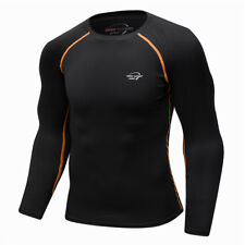 Men's Compression T-shirt Running Sports Baselayer Black Quick Dry Asian Size XL
