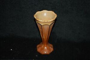 SCARCE GREENTOWN ROYAL BEADED TRIANGLE OPAQUE CHOCOLATE GLASS VASE C1900