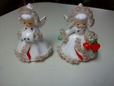 Vintage~ Christmas~ Holt Howard ~Angel Candle Holders ~Spaghetti Trim~ 1958