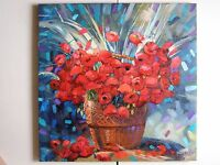ORIGINAL OIL PAINTING POPPIES FLOWERS BOUQUET ART BY ARTIST