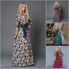 New Ladies Casual Spring Summer Long Bohemian Print Maxi Dress For Women 6-16