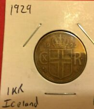 1929 Iceland 1 Krona coin, low mintage, average grade, L31