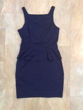 Primark Navy Blue Sleeveless Short Peplum Dress Fitted Body Con Size 12