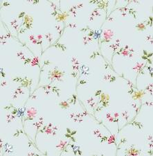 Wallpaper Designer Pink Red Blue Green Mini Floral Vine on Pearlized Gray
