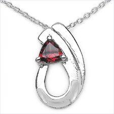PRECIOSO 0,50 quilates Colgante Granate Plata 925 collar cadena Rojo Sangre Gema