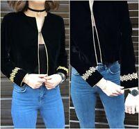 Zara Black Velvet Blazer With Gold Applique Size SMALL BNWT