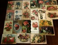 ~ Lot of 22 Flowers in Vases & Baskets ~Vintage Floral~ Greetings Postcards-b501