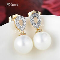 18K YELLOW GOLD GF MADE WITH SWAROVSKI CRYSTAL PEARL STUD EARRINGS ELEGANT