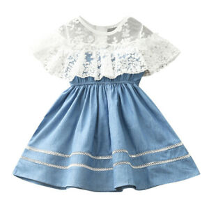 Fake Two Children's Clothing Girl Outfit Lace Splicing Cowboy Draw Back Dress