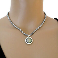 djs Sundance Sol Pyrite Peacock Pearl Circle Sterling Silver Necklace Boho Chic