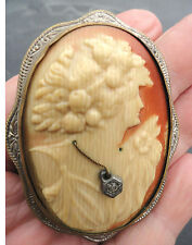 Antique Celluloid Cameo w/ Rhinestone Necklace w/ Tin Back