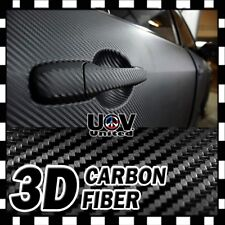 """24"""" x 60"""" 3D Carbon Fiber Matte Black Premium Vinyl Wrap Bubble Free Release U2"""