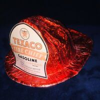 "1960's Vintage Texaco Fire Chief ""Junior Fireman"" Foil & Red Cellophane Helmet"