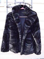 Womens Faux Fur Short Coat Jacket Black Gray Abstract Swirl Pattern Formal