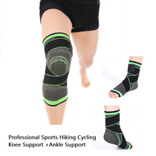 3D Weaving Knee Ankle Brace Basketball Hiking Cycling Knee Support+Ankle Support