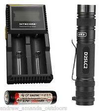 Eagletac D25LC2 XP-L clicky Flashlight w/3500mAh 18650 & Nitecore D2 Charger