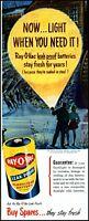 1949 Night ice skating Ray-O-Vac flashlight batteries vintage art Print Ad adL40