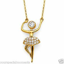 14K Yellow Gold Ballerina Necklace Pendant Man Made Diamond Pirouetting