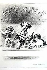 Morgan Dennis 1946 PUPPIES DOGGIE in PET SHOP WINDOW Vintage Matted Dog Print