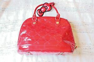 Hello Kitty Sanrio Loungefly Red Embossed Patent Leather Shiny Bowler Bag Purse