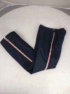 Vintage 70s Roffe SKI PANTS Retro Navy Blue Full Zip Leg Stripe XL Youth Japan