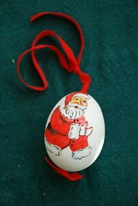 Hand painted Santa on a real egg shell ornament
