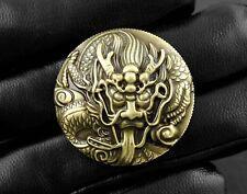 Brass Dragon Concho Button Wallet Biker Trucker Leather Craft Screw Back