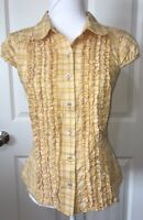 Excellent  Ivy Jane Embroidered Butterfly Blouse Top Yellow Size Small SO CUTE!