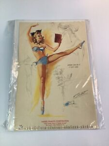 Vintage 1940's-50's PIN-UP Original calendar sexy girl art 11 of 20