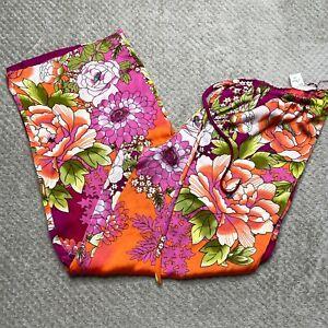 NEW Natori Pajama Pants Large Purple Floral Drawstring Sleepwear Satin Lounge