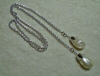 VINTAGE SARAH COVENTRY FAUX PEARL DROP SILVER TONE LARIAT NECKLACE 42""