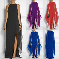 Women Long Dress Cap Sleeve Double Side Slit Split Long Gown Party Maxi Dress