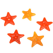 Orange Glass Stars Beads Qty5 2inch Beading Crafts Africa Jewelry D004