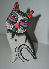 Wood Hand Painted Cat Figure Kitten Kitty carved