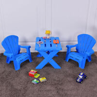 Plastic Children Kids Table & Chair Set 3-Piece Play Furniture In/Outdoor Blue