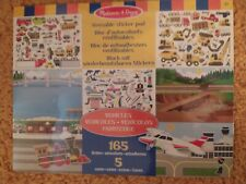 REUSABLE (V) STICKER PAD, VEHICLES, BY MELISSA & DOUG.5 SCENES,165 STICKERS