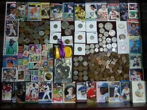Junk Drawer Lot #5: Morgan Dollar, Antique Silver Coins Sports Cards Estate Sale