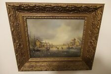 ANTIQUE DUTCH PAINTING ON WOOD SIGNED VELDEN PERUS VAN DER  FRAMED
