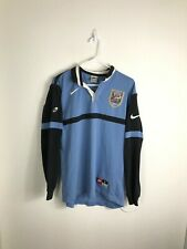 Mens Small Nike Cardiff RFC Blue & Blacks Wales Striped Long Sleeve Rugby Shirt