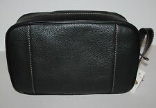 NEW FOSSIL CAMDEN TRAVEL KIT,SHAVE KIT,BLACK LEATHER,STITCHES, COSMETIC BAG