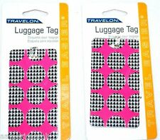2x Travelon Luggage Baggage Name Address Tag Holders Pink Black Hard Plastic