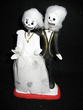 Bride &  Groom Figurines 'Til Death Do Us Part' Grooms Cake Decor Mexico FolkArt