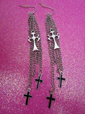 Cross Long Fringe Earrings